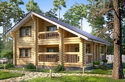 Визуализация деревянного дома из бревна