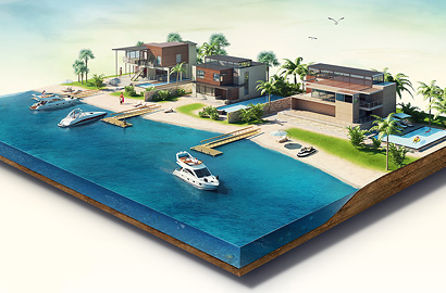 Коттеджи на берегу 3D иллюстрация