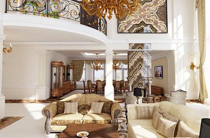 3D визуализация холла в доме