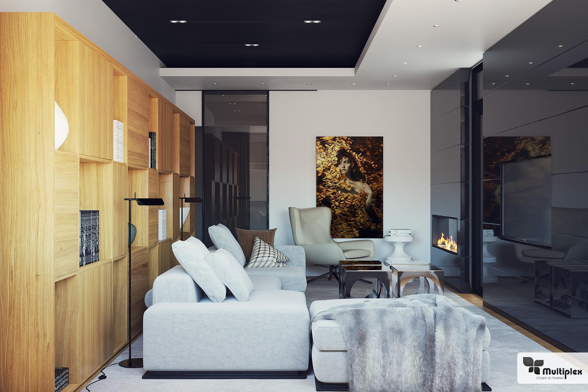 3D визуализация интерьера в стиле Арт-хаус