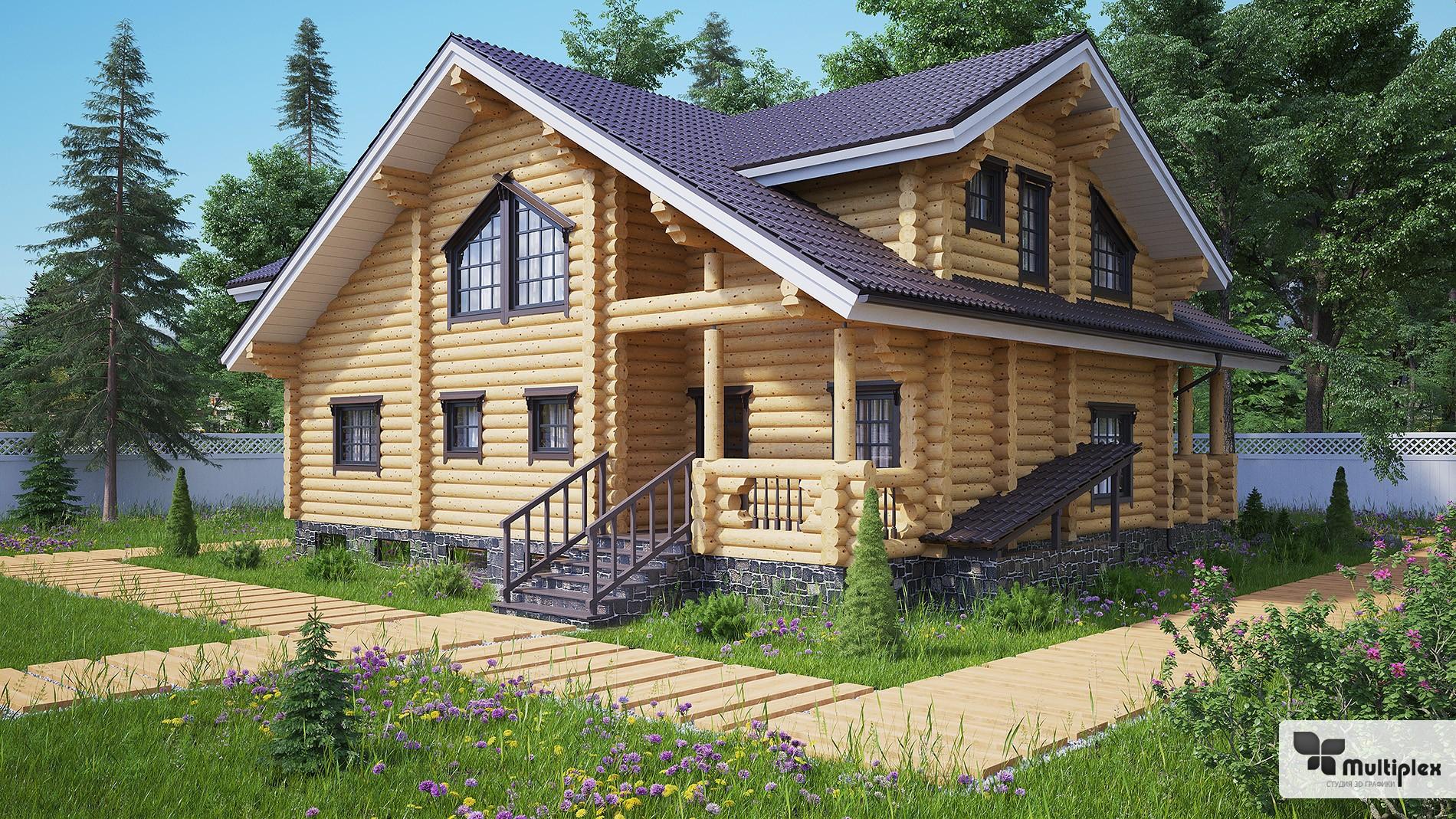 3D визуализация деревянного дома