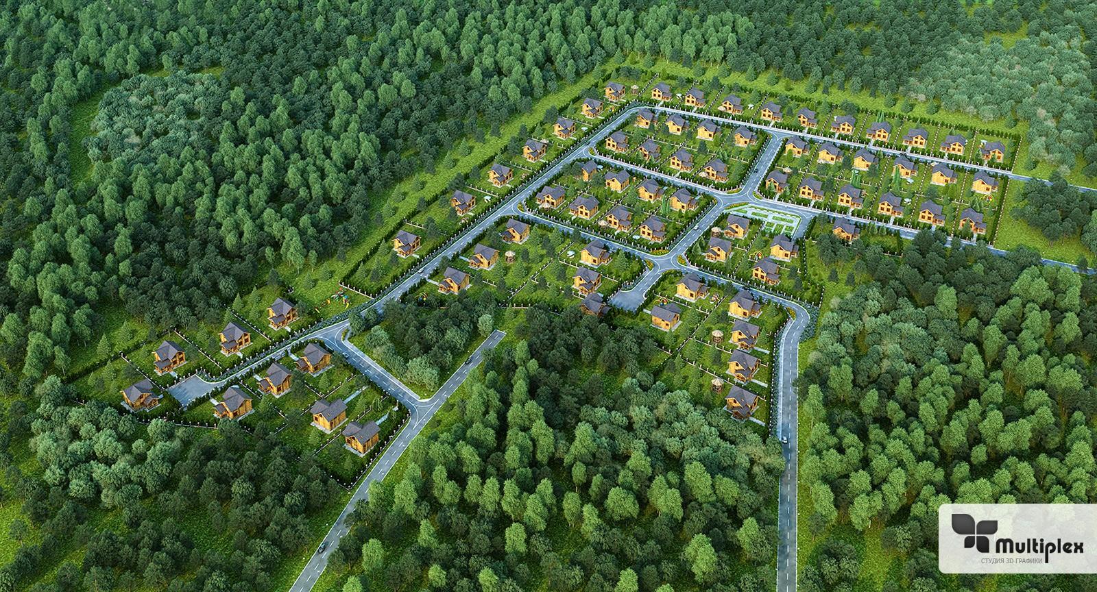 Визуализация генплана коттеджного поселка